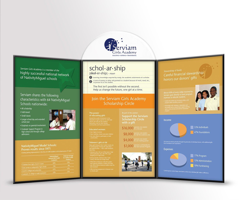 Blue Blaze designed print collateral for Serviam Academy