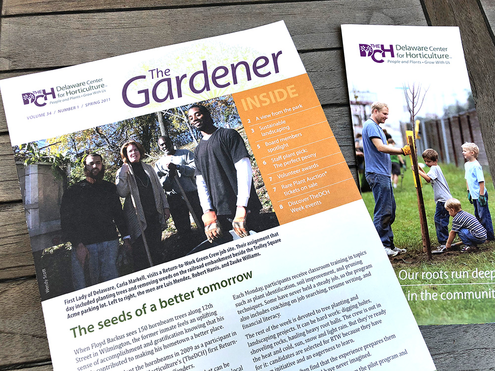 Examples of print work for The Delaware Center for Horticulture