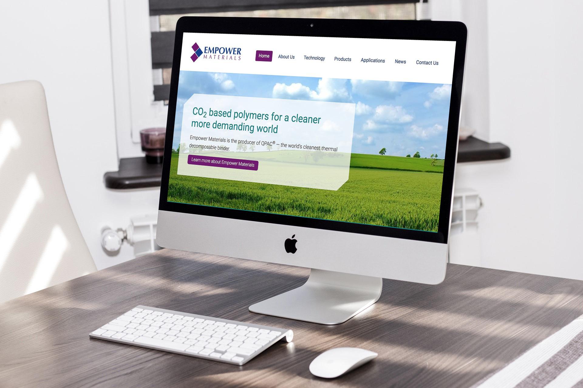 Desktop computer showing the Empower Materials website