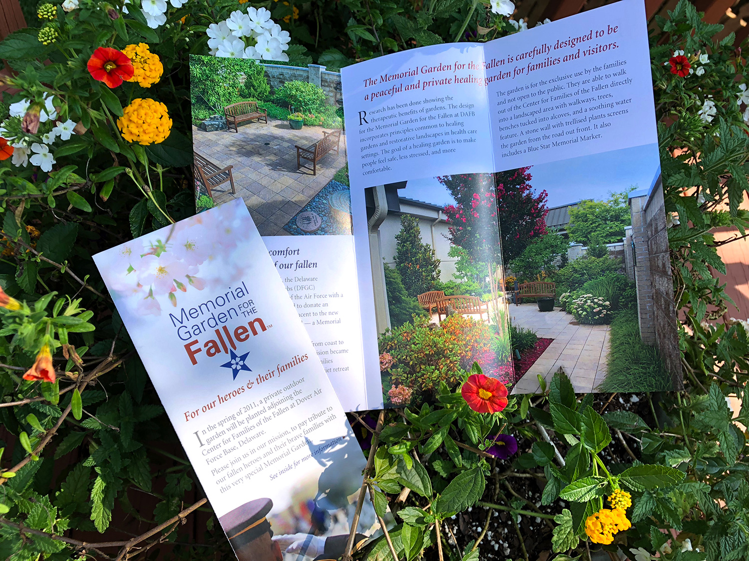Blue Blaze custom designed print collateral for Memorial Garden for the Fallen