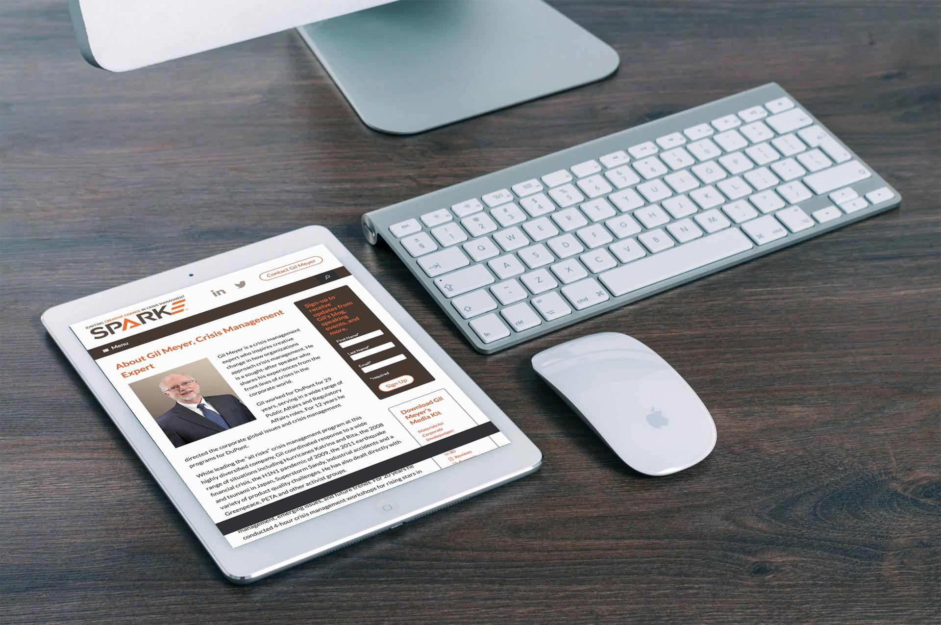 Sparke website on tablet