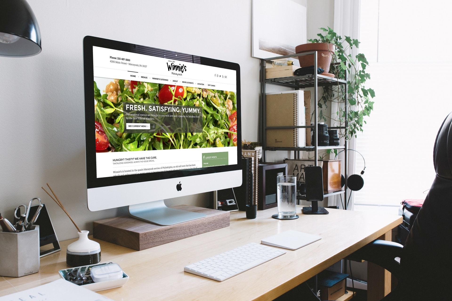 Winnie's Manayunk website on mobile phone