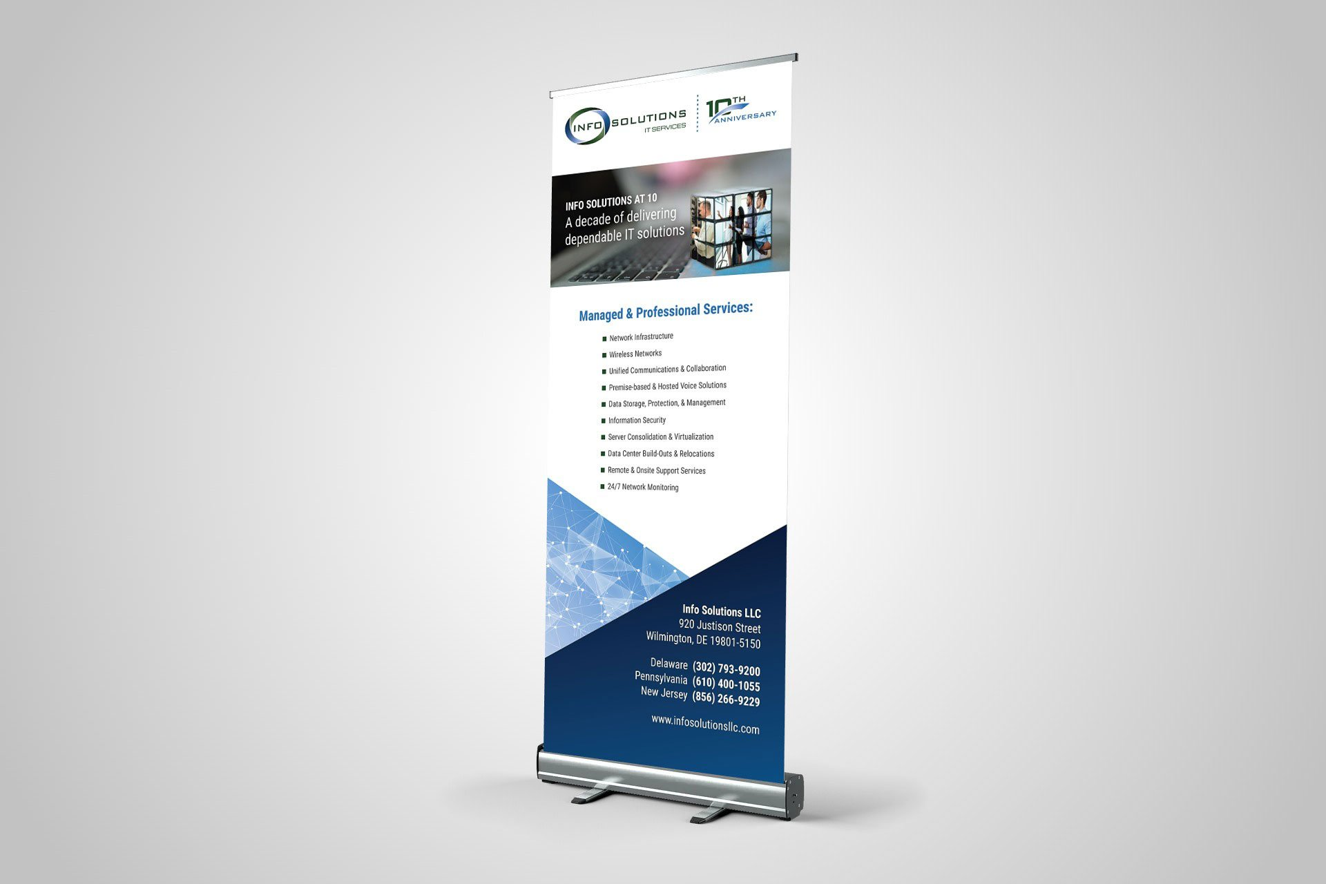 Blue Blaze designed display banner for Info Solutions