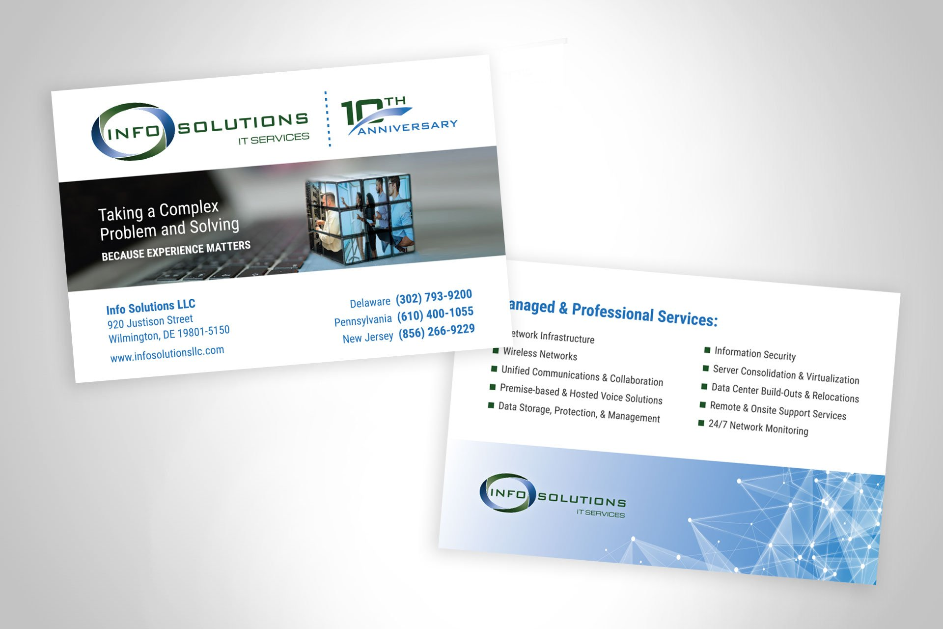 Blue Blaze designed print collateral business cards for Info Solutions