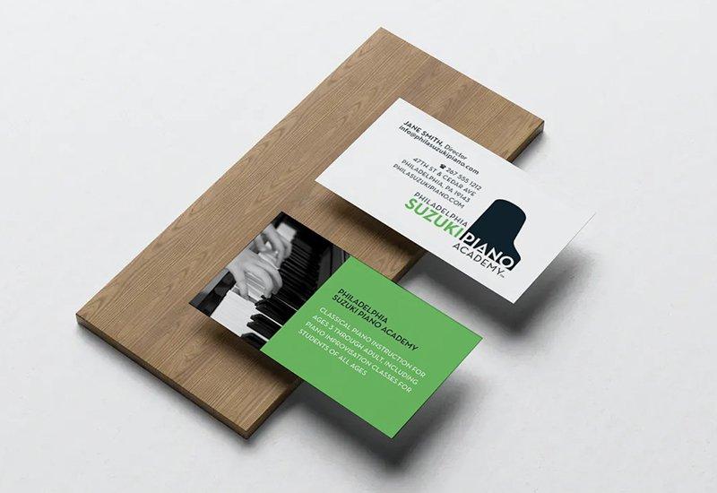 Blue Blaze designed print collateral business card for Philadelphia Suzuki Piano Academy