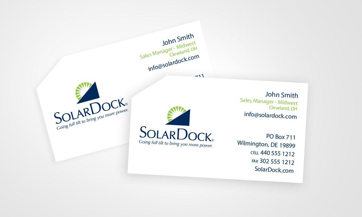 Blue Blaze designed custom business cards for Solar Dock