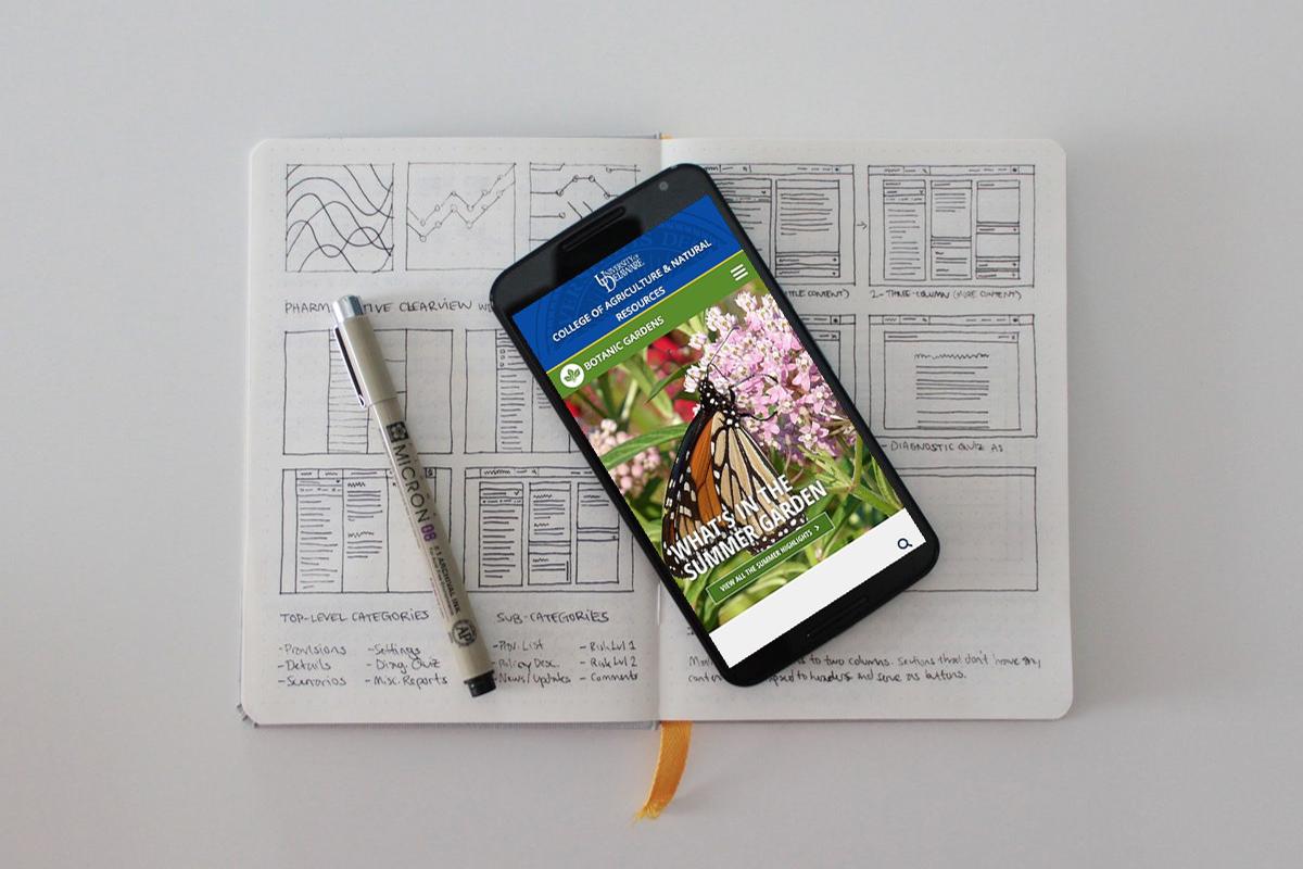 University of Delaware Botanic Gardens website smartphone