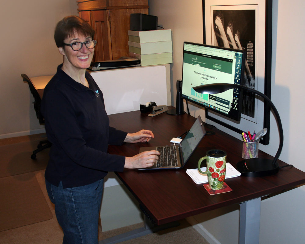 Wendy Scott's at-home workspace.