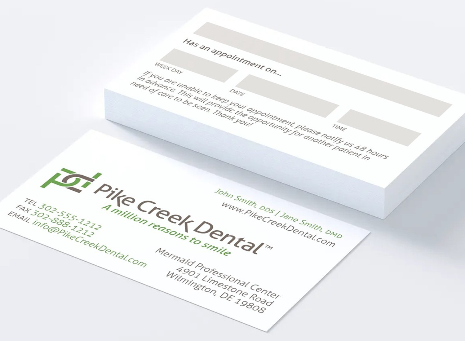 Blue Blaze designed print collateral business cards for Pike Creek Dental