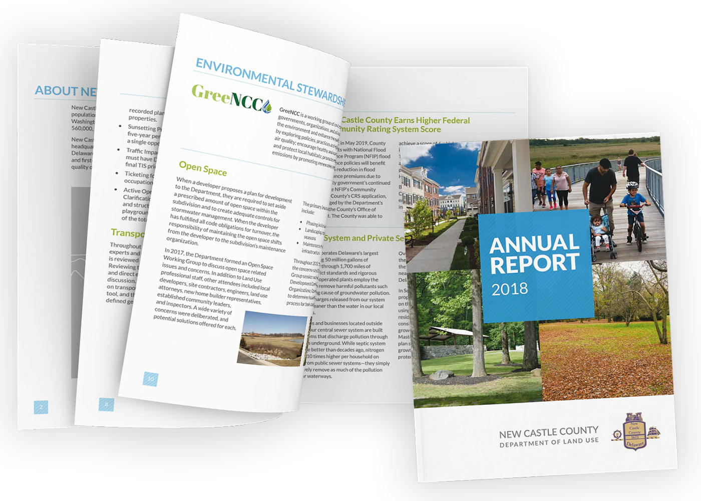 Blue Blaze designed annual report for New Castle County Dept of Land Use Delaware