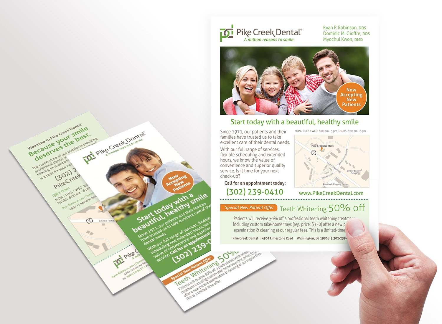 Blue Blaze designed print collateral for Pike Creek Dental